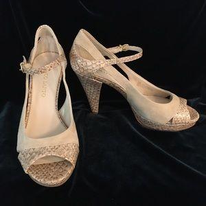 Franco Sarto Cream Colored Peep Toe Heels